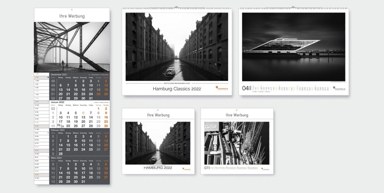 Übersicht Hamburg-Kalender schwarzweiß